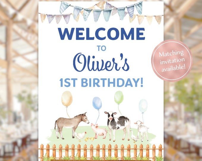 Farm animals birthday party welcome sign watercolour petting zoo boy any age lamb cow donkey pig blue baby animals printable