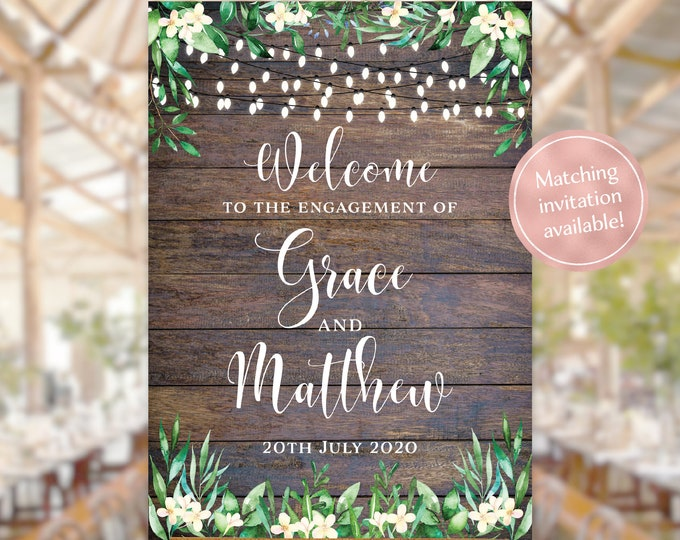 Rustic welcome sign engagement party wedding string lights, wood watercolour flowers leaves, rustic engagement invitation, printable