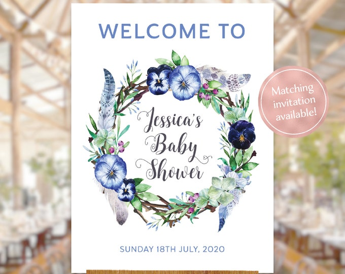 Baby shower welcome sign boho floral wreath watercolour flowers leaves feathers blue printable