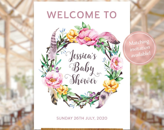 Baby shower welcome sign boho floral wreath watercolour flowers leaves feathers pink printable