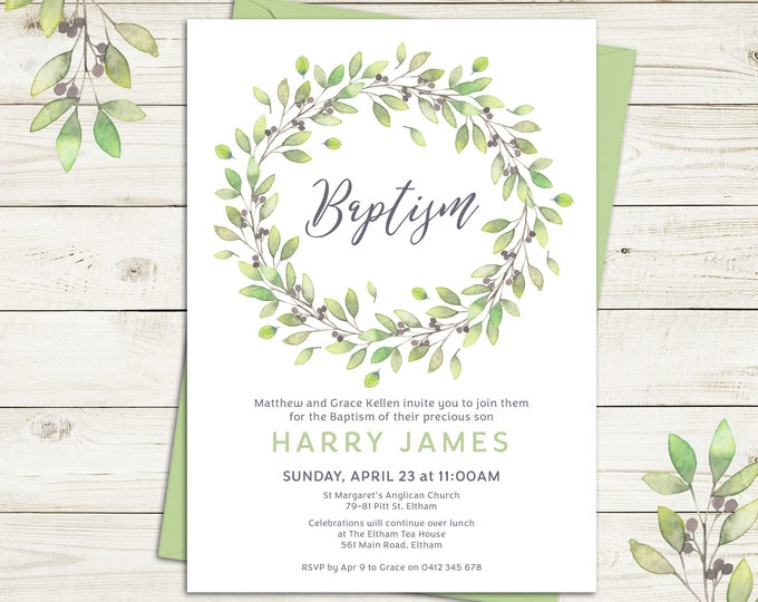 Christening invitation, Baptism invitation, naming invitation, boy or girl, watercolour leaves, nature theme, digital printable