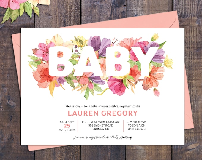 Baby shower invitation, bright flowers, baby shower invite, watercolour, floral customised digital printable