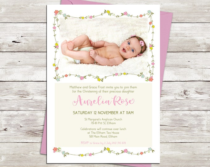 Christening invitation girl, Baptism invitation girl, naming invitation, photo and pretty floral bunting, pink digital customised printable