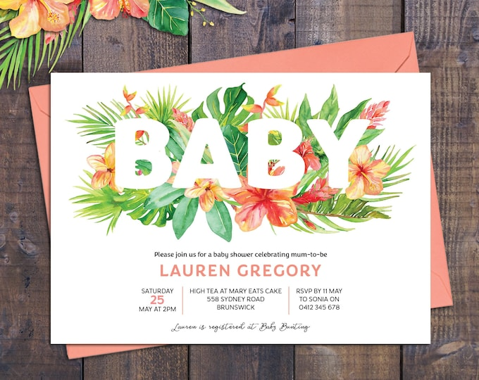 Baby shower invitation, tropical flowers, tropical baby shower invite, watercolour, floral customised digital printable