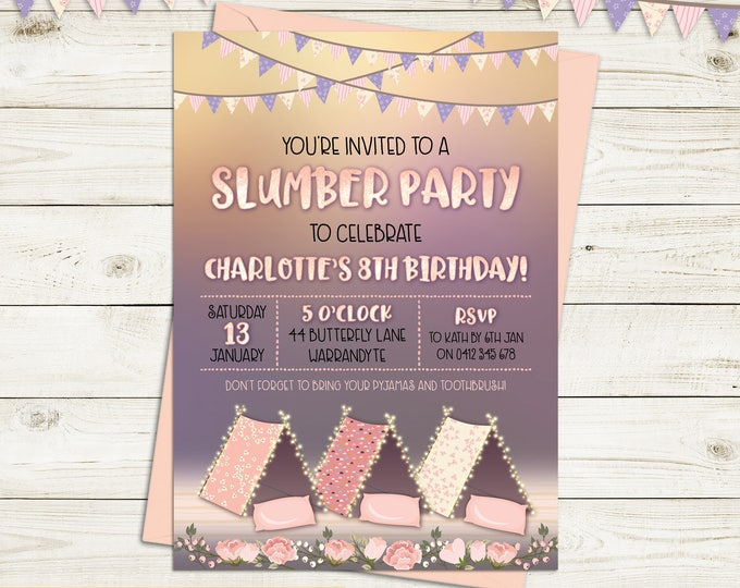 Slumber party invitation, sleepover, birthday invitation, girl, tents, tee pees, pyjama party, pajama party, glamping, printable, any age