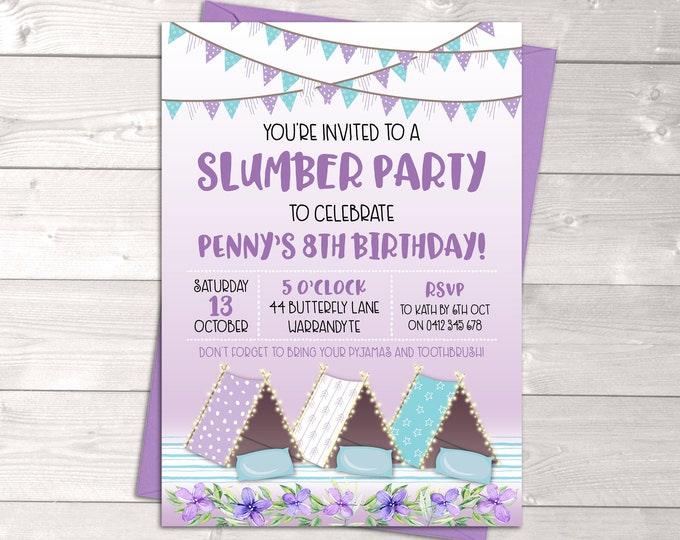 Slumber party invitation sleepover birthday invitation, girl, tents, tee pees, pyjama party, purple aqua, glamping, printable, any age
