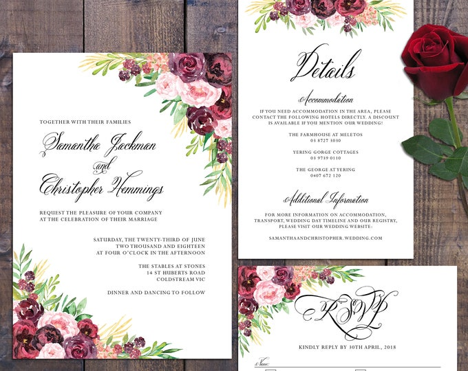 Wedding suite, wedding invitation, marsala burgundy dark roses, floral, details information card, RSVP card, formal, digital printable
