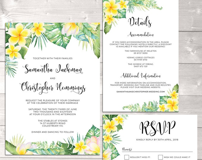 Wedding suite, wedding invitation, tropical, frangipani plumeria, floral, details information card, RSVP card, formal, digital printable