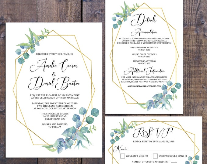Wedding suite, wedding invitation, geometric invitation, gold, botanical, eucalyptus, details information card RSVP card, digital printable