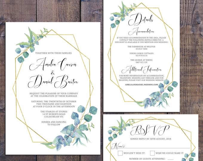 Wedding suite, wedding invitation, geometric invitation, gold, botanical, eucalyptus, details information card RSVP card, digital printable
