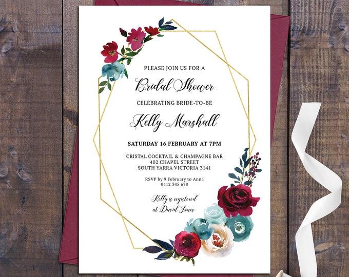 Bridal shower invitation, shower invitation, geometric invitation, floral, gold, marsala roses customised digital printable invite
