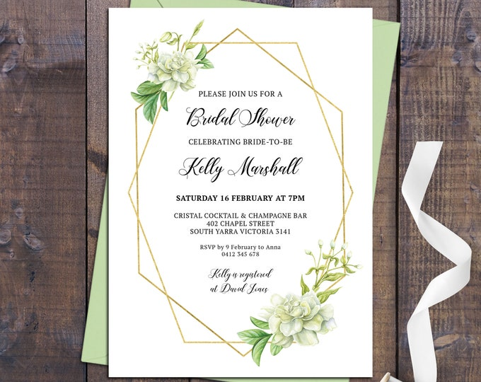 Bridal shower invitation, shower invitation, geometric invitation, floral, gold, white flowers, leaves, customised digital printable invite