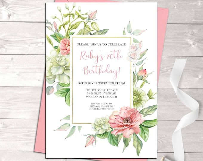 Floral birthday invitation, floral invitation, milestone invitation, flowers, any age, 40th 50th 60th 70th 80th 90th, digital printable