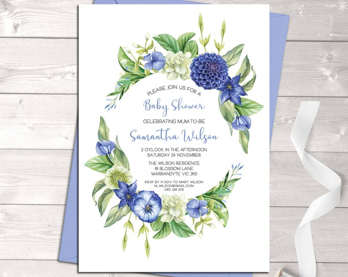 Baby shower invitation, baby shower boy, bonjour baby, hello baby, floral wreath, blue, watercolour flowers, sip and see, digital printable