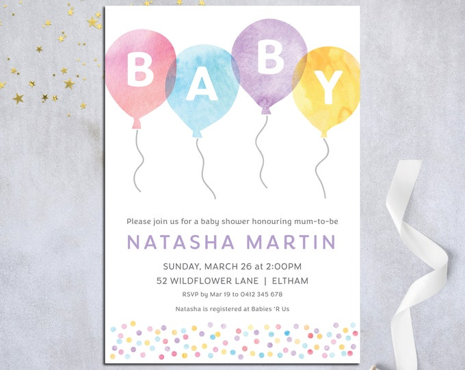 Baby shower invitation, balloons, baby shower invite, watercolour, confetti, pretty pastel customised digital printable