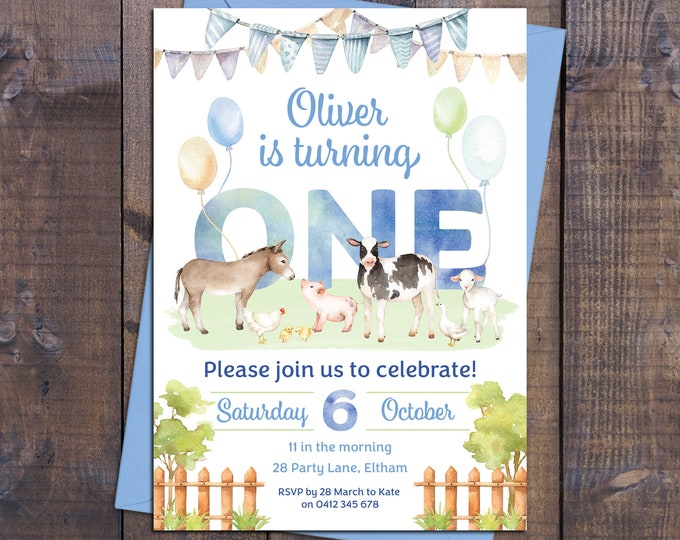 Farm invitation, birthday invitation boy, farm animals, petting zoo, cow, sheep, 1st, 2nd, any age child, blue green, printable, watercolour