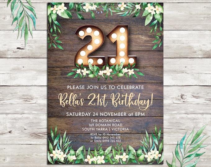 Rustic invitation, birthday invitation, marquee lights, 18th birthday, 21st birthday, any age, 30th, 40th 50th 60th 70th, digital printable