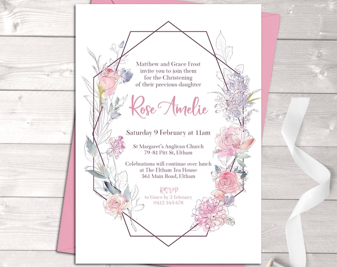 Christening invitation girl, baptism invitation girl, naming, geometric, watercolour flowers, pink, purple digital customised printable