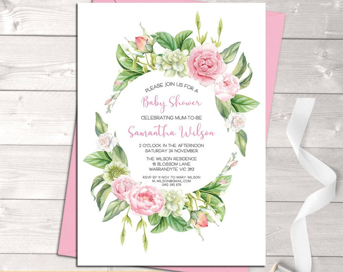 Baby shower invitation, baby shower girl, bonjour baby, hello baby, floral wreath, pink, watercolour flowers, sip and see, digital printable