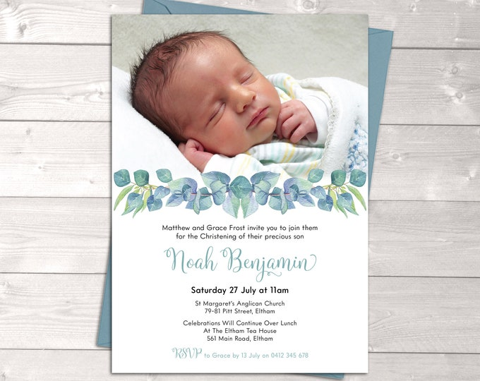 Christening invitation boy, baptism invitation, naming invitations, boy, photo & watercolour eucalyptus leaves, digital customised printable