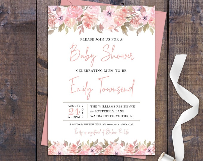 Baby shower invitation, watercolour flowers, baby shower invite, floral, peach, coral, pink, brown, customised digital printable