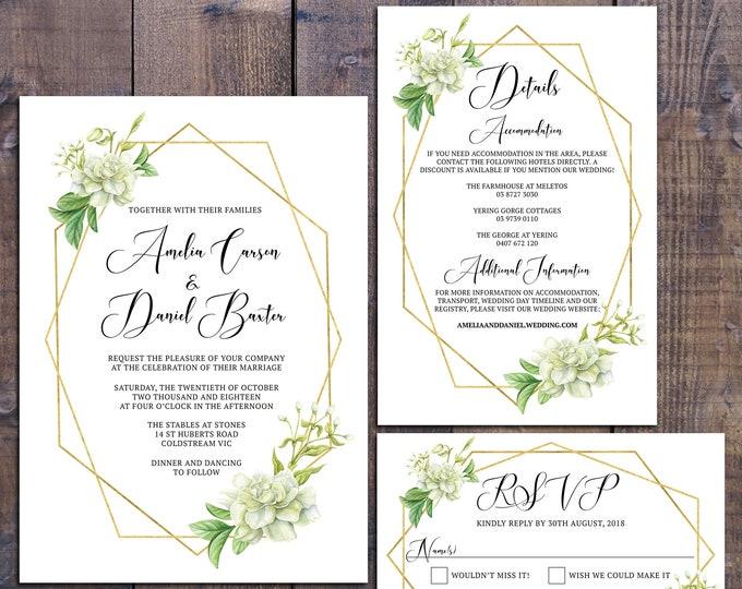 Wedding suite, wedding invitation, geometric invitation, floral, gold, leaves, details information card, RSVP card, digital printable