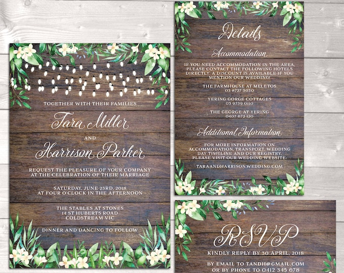 Rustic wedding invitation, wedding suite, wedding invitation, string lights, leaves, details information card, RSVP card, digital printable