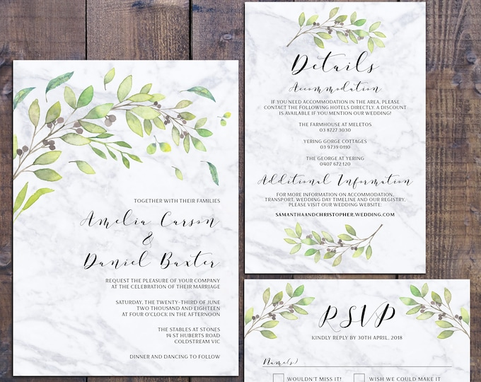 Wedding suite, wedding invitation, botanic invitation, marble greenery leaves flowers, details information card RSVP card, digital printable
