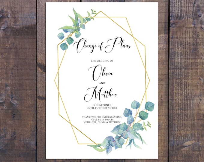 Change of plans card, change the date, postpone engagement wedding, gold geometric eucalyptus, printable digital