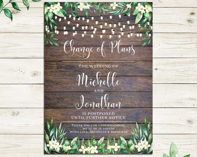 Change of plans card, change the date, postpone engagement wedding, rustic wood and watercolour leaves, printable digital