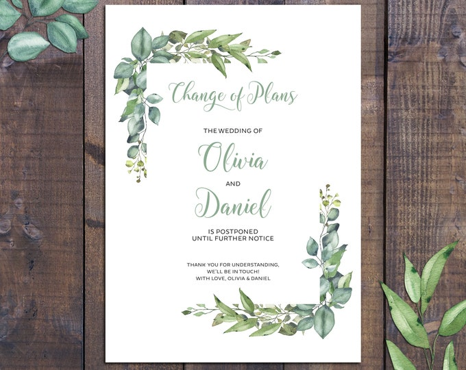 Change of plans card, change the date, postpone engagement wedding, rustic watercolour eucalyptus botanical, printable digital
