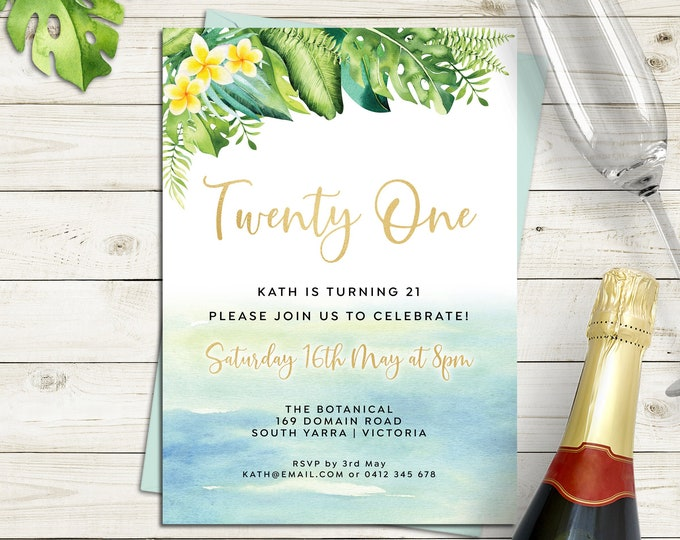 Birthday invitation tropical 18th birthday 21st birthday, any age, 30th, 40th 50th 60th 70th, beach, waves, frangipani digital printable