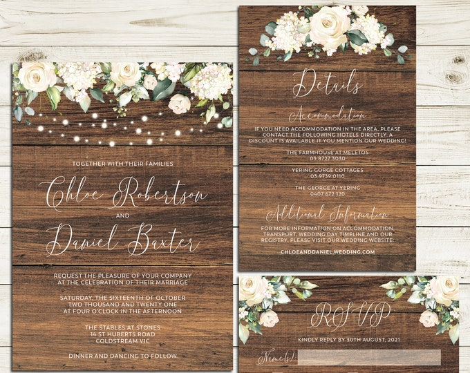 Wedding suite, wedding invitation, rustic wedding botanical floral and leaves details information card RSVP string lights printable