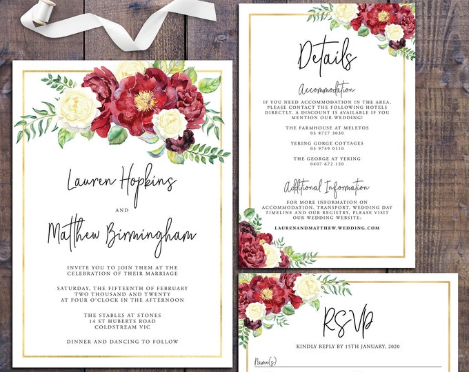Wedding suite, wedding invitation, geometric invitation, floral, gold, red roses, details information card, RSVP card, digital printable