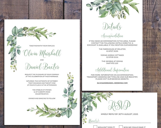 Wedding suite, wedding invitation, rustic wedding botanical eucalyptus leaves details information card RSVP card, digital printable