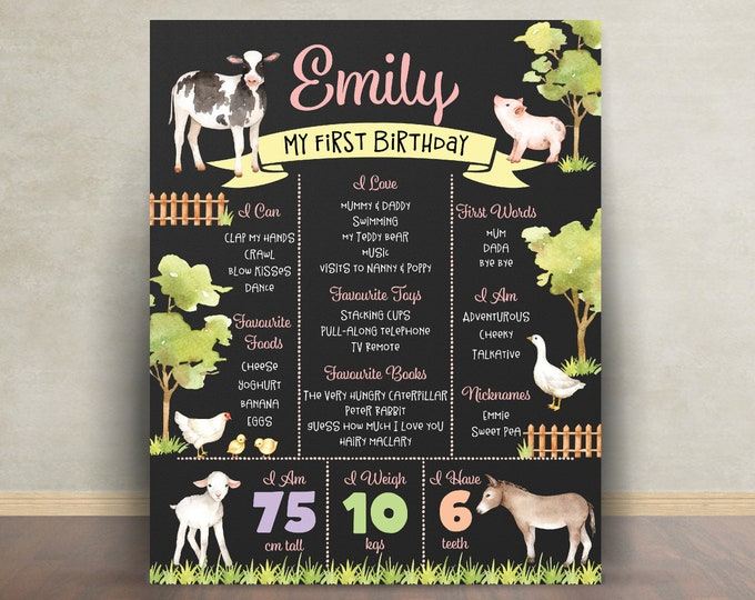 First birthday poster, first birthday sign, farm animals, chalkboard poster, 1st birthday, first birthday sign, milestone poster, girl