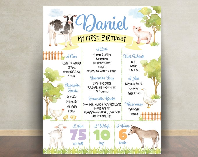First birthday poster sign milestone board, farm animals, chalkboard poster, 1st birthday, first birthday sign, milestone poster, boy