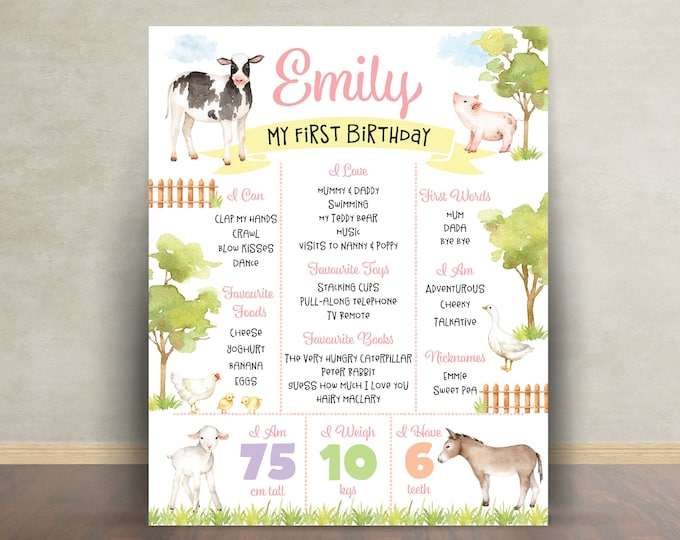 First birthday poster sign milestone board, farm animals, chalkboard poster, 1st birthday, first birthday sign, milestone poster, girl