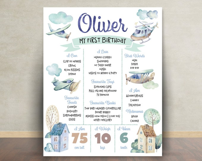 First birthday poster, first birthday sign, planes poster, chalkboard poster, 1st birthday, first birthday sign, milestone poster, boy