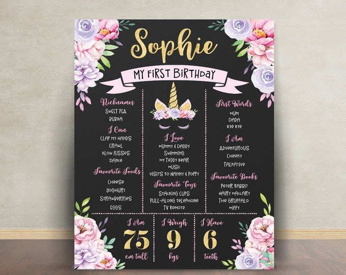 First birthday poster sign milestone board unicorn, pink purple gold, chalkboard poster, 1st birthday, flowers, milestone poster, girl