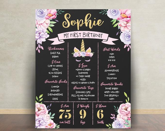 First birthday poster, first birthday sign, unicorn, pink purple gold, chalkboard poster, 1st birthday, flowers, milestone poster, girl