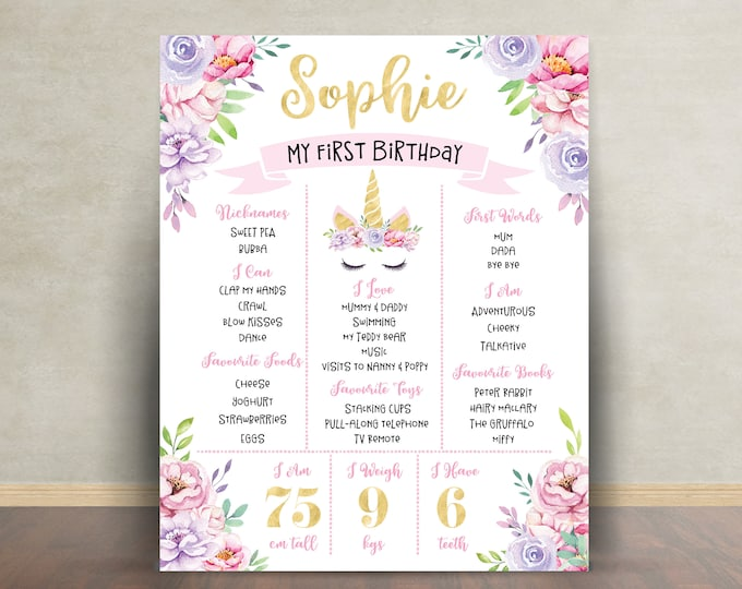 First birthday poster sign milestone board, unicorn, pink purple gold chalkboard poster, 1st birthday, flowers, milestone poster, girl