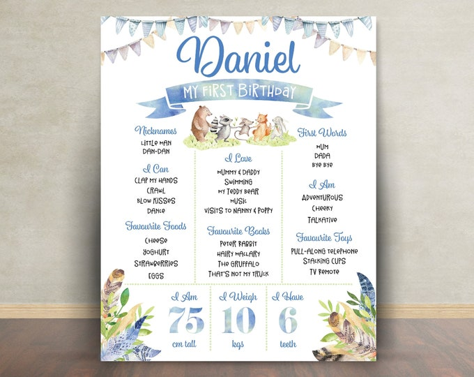 First birthday poster, first birthday sign, boho woodland animals, chalkboard poster, 1st birthday, sign, milestone poster, boy