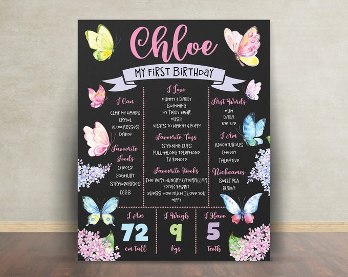 First birthday poster sign milestone board, butterflies pink purple, chalkboard poster, 1st birthday, flowers, milestone poster, girl