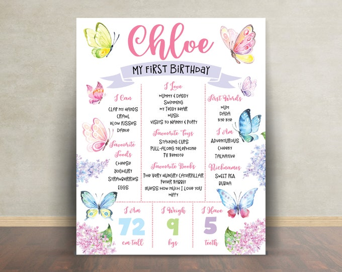 First birthday poster sign milestone board, butterflies, chalkboard poster, 1st birthday, milestone poster, girl, flowers pink purple