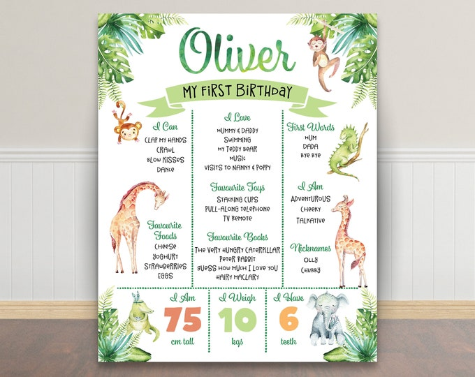 First birthday poster, first birthday sign, jungle poster chalkboard 1st birthday, first birthday sign, milestone poster, boy watercolour