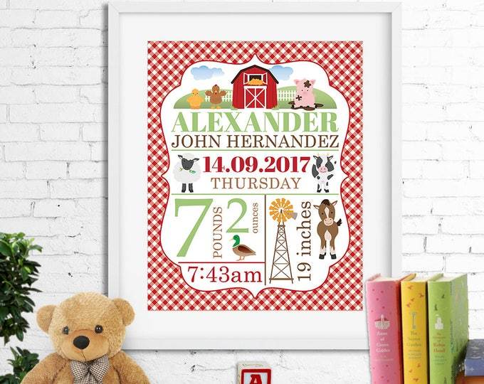 Birth stats print, wall art, birth announcement poster, birth details, customised, farm, horse, cow, sheep, barn, baby boy, digital file