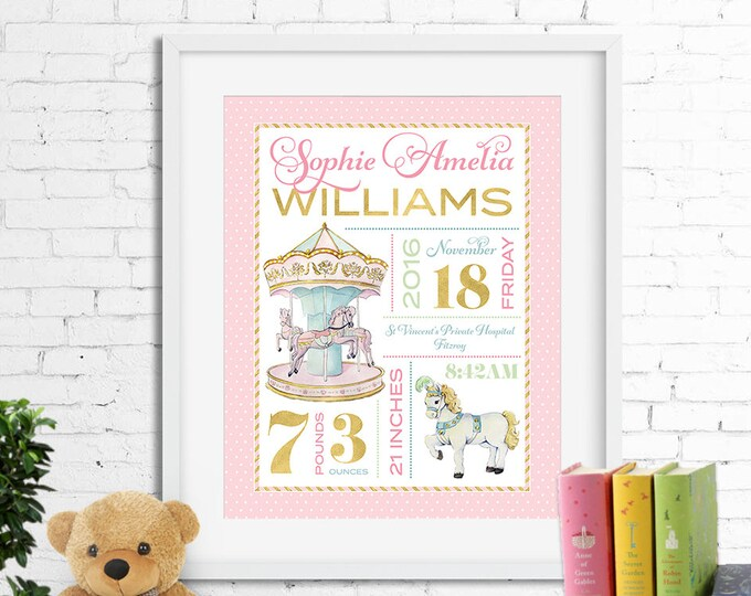 Birth stats print, wall art, birth announcement poster, birth details, customised, carousel, horse, pony, merry-go-round, baby girl, digital