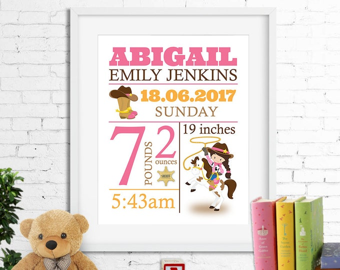 Birth stats print, wall art, birth announcement poster, birth details, customised, western, cowgirl, horse, sheriff, girl, digital