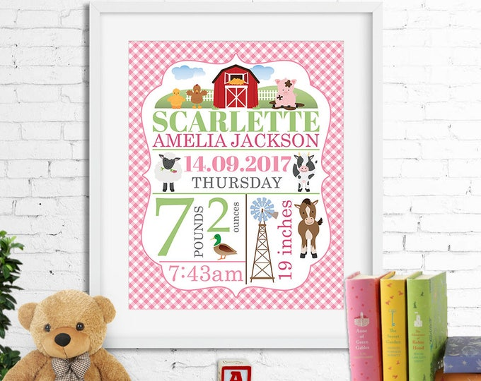 Birth stats print, wall art, birth announcement poster, birth details, customised, farm, horse, cow, sheep, barn, baby girl, digital file